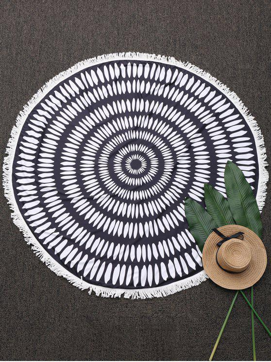 outfits Printed Round Fringed Beach Throw - BLACK ONE SIZE