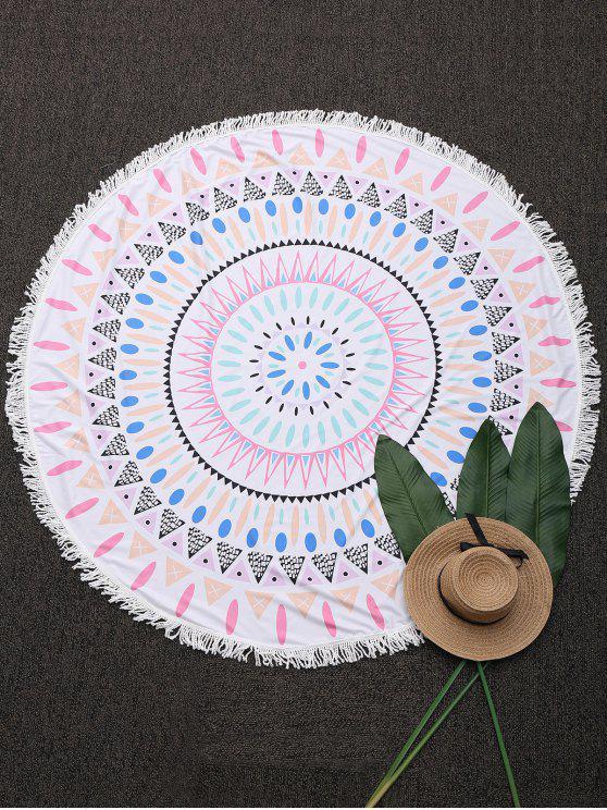 Couverture de plage ronde frangée à motifs géométriques - Blanc TAILLE MOYENNE