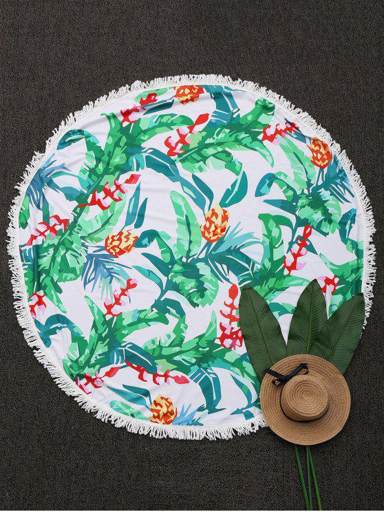 latest Round Tropical Fringed Beach Throw - GREEN ONE SIZE