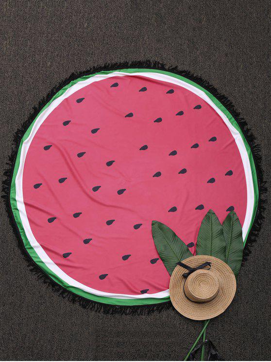 Manta de Playa Redonda con Color Bloque con Flecos - Sandia Roja Única Talla