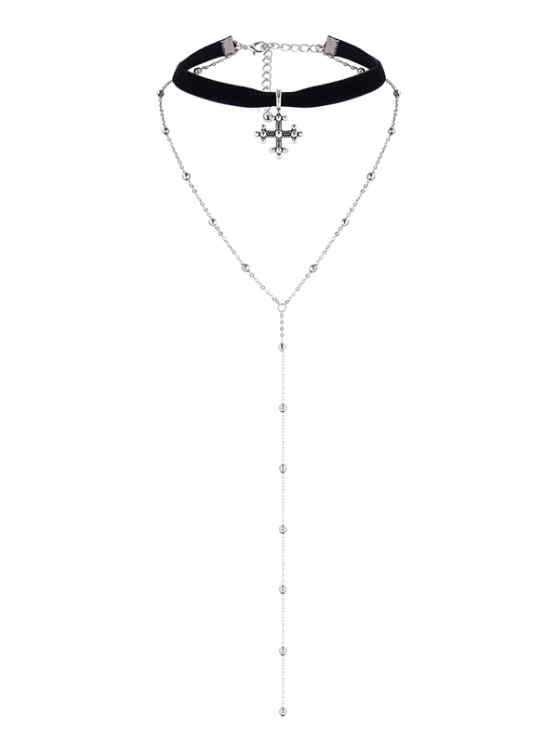 Layer Alloy Beaded Kreuz Choker - Silber