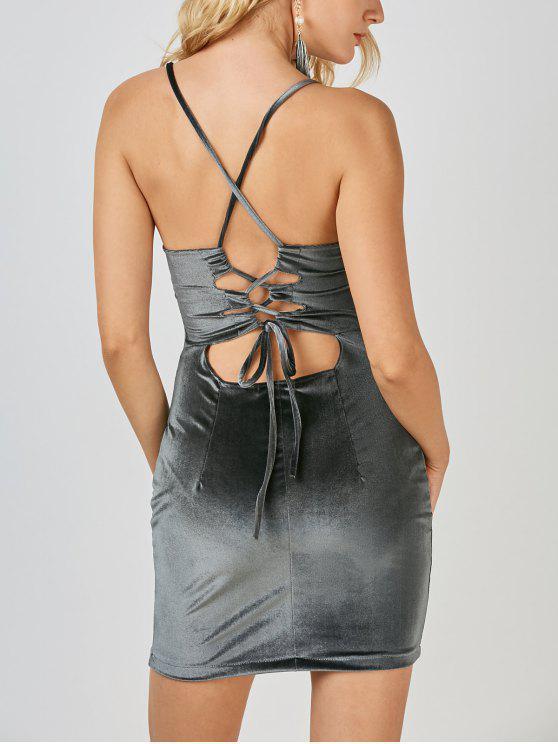 Mini Vestido Ceñido de Terciopelo con Espalda Cruzada - Gris L