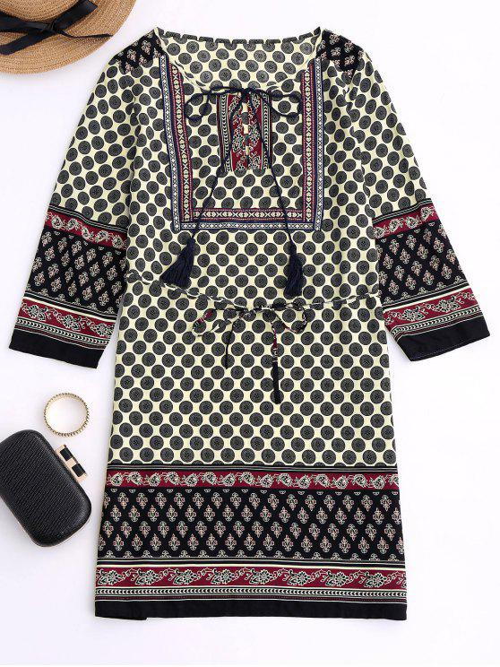 womens Belted Printed Boho Dress - BLACK XL