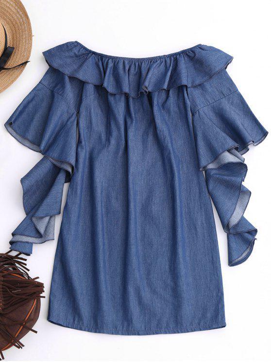 Mini-robe à volants et encolure dégagée - Denim Bleu M