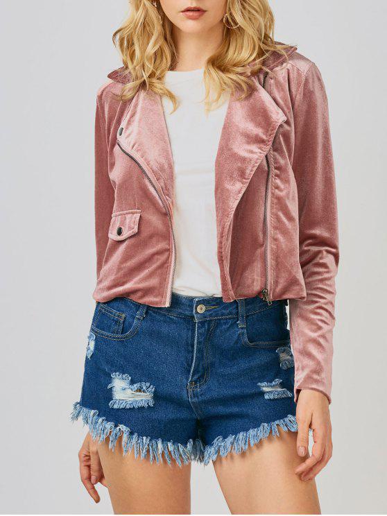 trendy Velvet Biker Jacket - DEEP PINK S