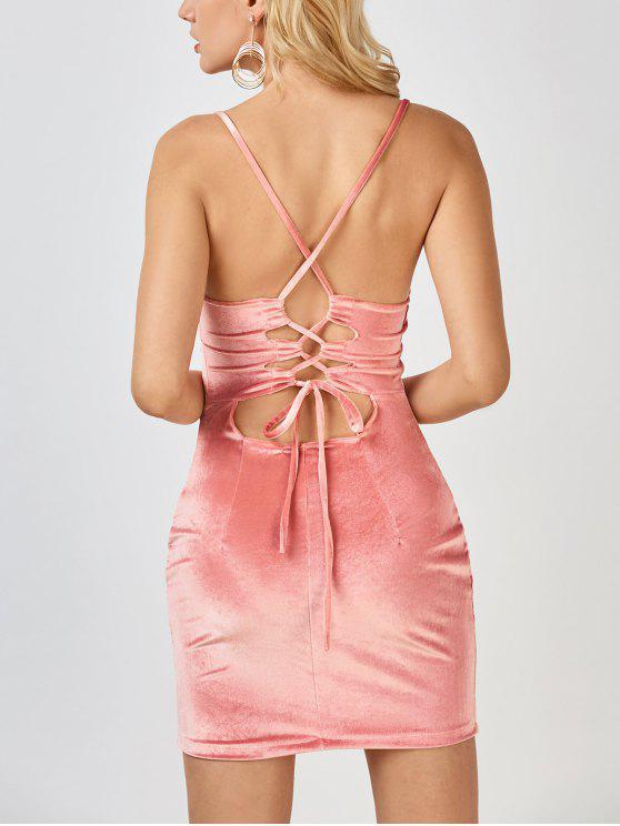 Mini Vestido Ceñido de Terciopelo con Espalda Cruzada - Rosa M