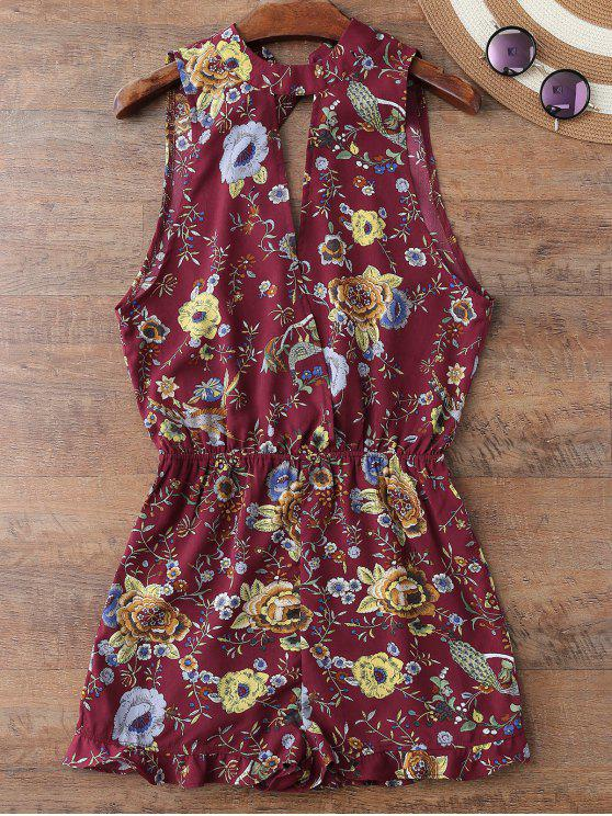 latest Floral Print Sleeveless Beach Romper - CLARET M