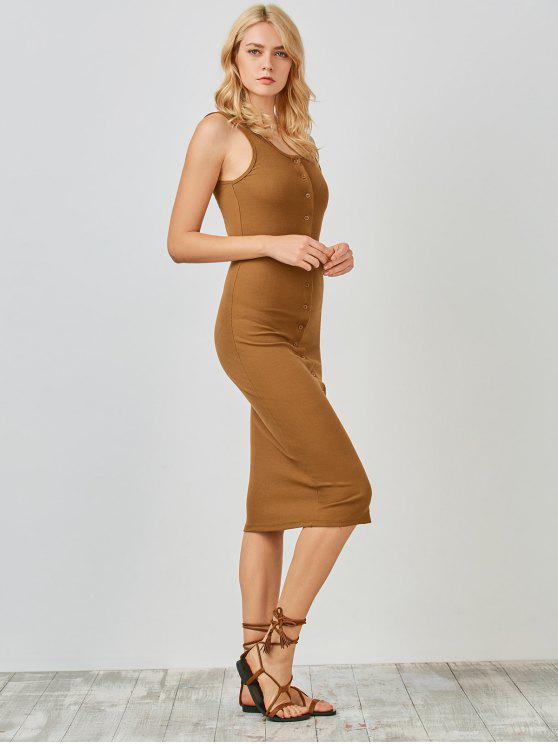 Botón de tejer Hasta Vestido ajustado - Camello M