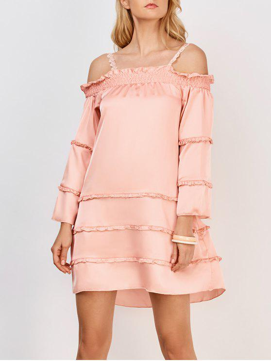 unique Ruffles Tiered Cami Dress - PINK XL
