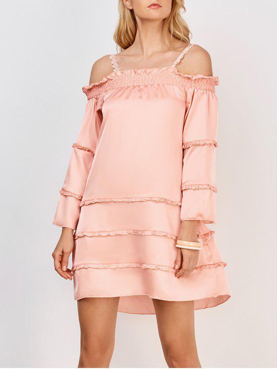 sale Ruffles Tiered Cami Dress - PINK L