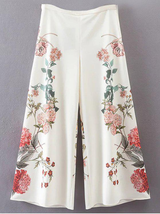 بنطلون بقصة واسعة طباعة الأزهار - أبيض M