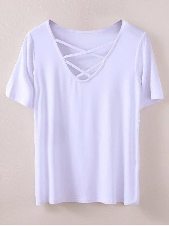 fashion Strappy T-Shirt - WHITE M