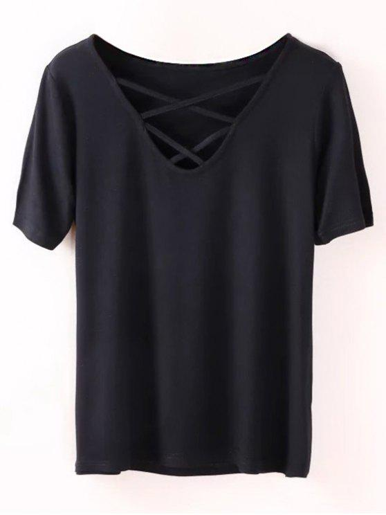 unique Strappy T-Shirt - BLACK S