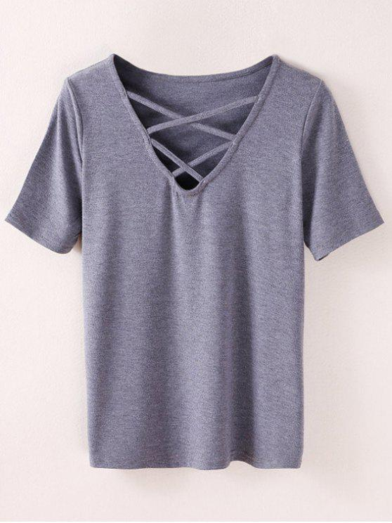 women's Strappy T-Shirt - SMOKY GRAY S