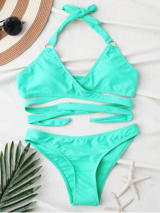 Low Cut Halter Bikini Wrap - Turquesa S