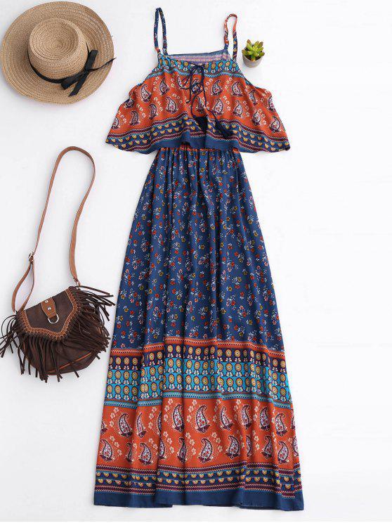 Vestido floral maxi acodado - Azul XL