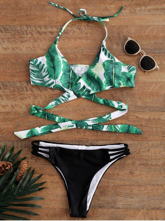 Bikini de Halter con Cordón con Estampado de Palma - Colormix M