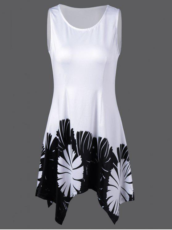 الأزهار طباعة البسيطة منديل اللباس - أبيض M