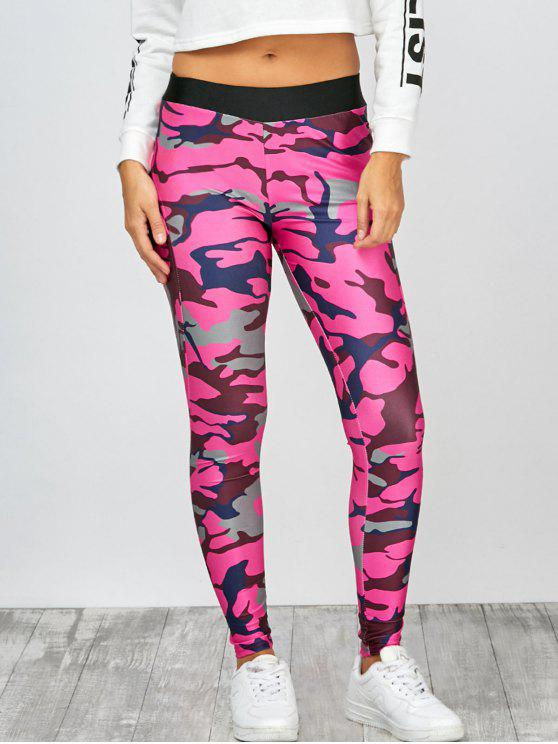 Leggings mit hoher Taille und Camouflagedruck - Camouflage rosa rot  XL