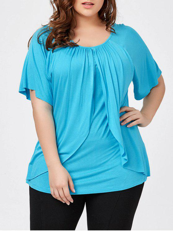 7bb56fcbf 29% OFF] 2019 Plus Size Raglan Sleeve Overlay T-Shirt In LAKE BLUE ...