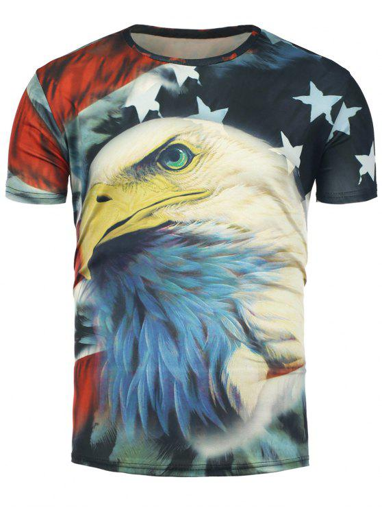 8c37a8c97d3 3D Eagle and Stars Print Short Sleeve T-Shirt
