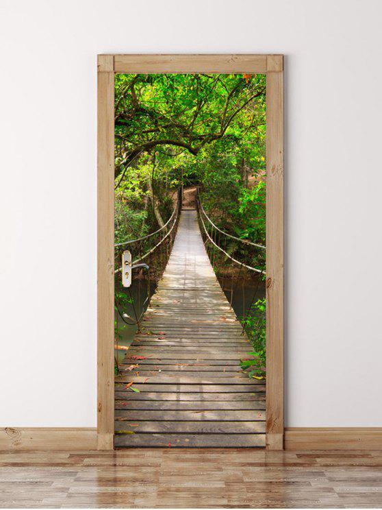 3d جسر خشبي في غابة عميقة ماء باب جدار ملصق - أخضر 77*200CM
