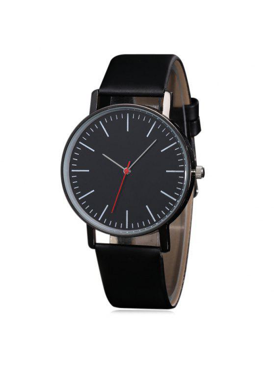 جلد الاصطناعي عارضة كوارتز ساعة - أسود