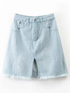 Raw Hem Front Slit Denim Skirt - Light Blue S