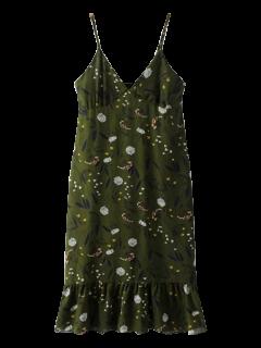 Riza El Minúsculo Vestido Floral Cami - Verde Negruzco S