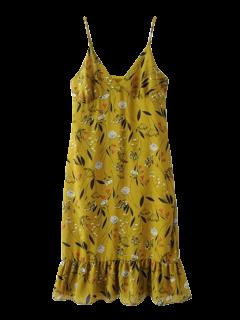 Ruffles Tiny Floral Cami Dress - Bluish Yellow S