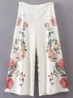 Pantalones Floral Culotte - Blanco S