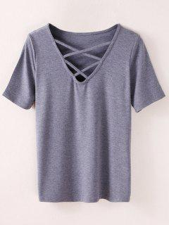 Strappy T-Shirt - Smoky Gray M