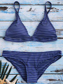Banded Striped Bikini Set - Blue L