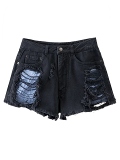 Cut-Offs Ripped Shorts - Black M