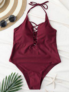 Cami Lace Up Swimsuit - Wine Red M