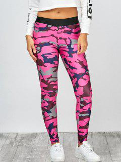 High Rise Camo Print Leggings - Camouflage Rose Red M