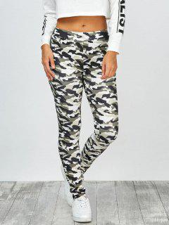 High Waisted Camo Leggings - Jungle Camouflage M