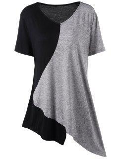 Asymmetrical Color Block Plus Size Long T-Shirt - Black And Grey 2xl