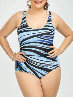 Cutout Plus Size Stripe One Piece Swimsuit - Light Blue 5xl