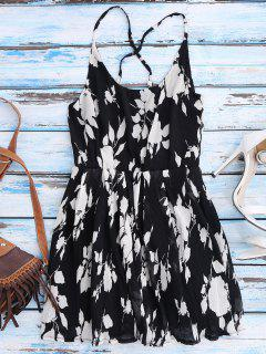Floral Cross Back Beach Cami Dress - Black S