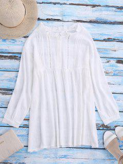 Blouse à Encolure Tunisienne à Fanfreluches - Blanc
