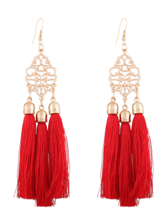 Alloy Engraved Tassel Drop Earrings - Red