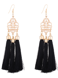 Alloy Engraved Tassel Drop Earrings - Black