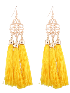 Alloy Engraved Tassel Drop Earrings - Yellow