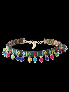 Collana Girocollo Con Ricamo E Palla Geometrica Stile Etnico - Multicolore