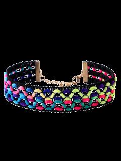 Wavy Braided Choker Necklace - Black