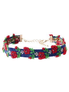 Flower Embroidered Choker - Blue