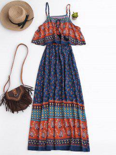 Floral Layered Maxi Dress - Blue Xl
