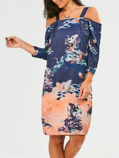Straps Crane Print Slit Dress - Purplish Blue S
