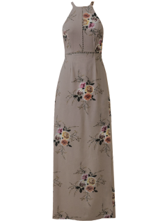 Vestido Sin Espalda De Escalera Floral Autoamarre - Camafeo M